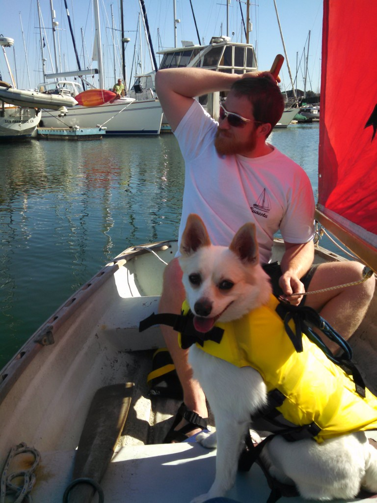 Yuki's first sailboat trip (and awkward tiller handling)